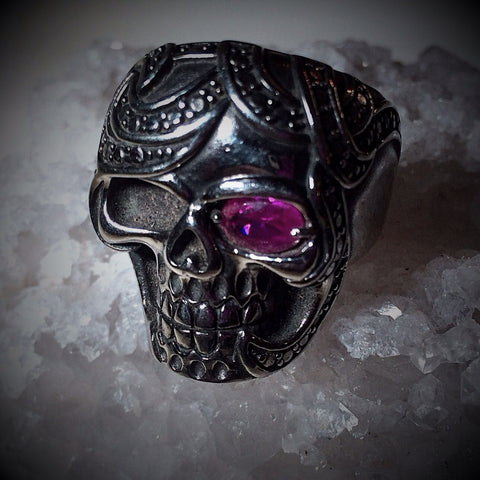 Red Eyed Jack Stainless Steel ring One Red eye
