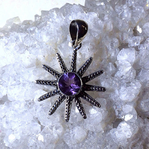 Sterling Silver Sun With Amethyst Stone