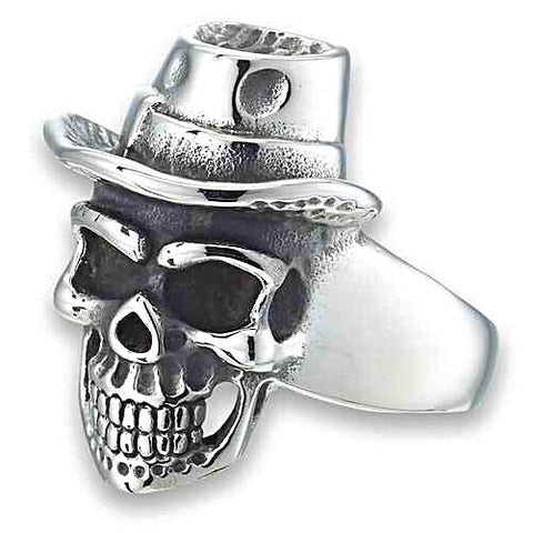 TOP HAT SKULL RING IN STAINLESS STEEL