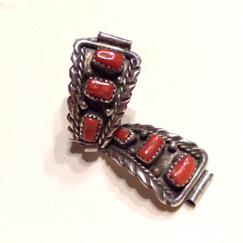Coral & Sterling Silver Vintage Watch Band