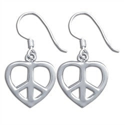 Heart Peace Sign Earrings in Sterling Silver