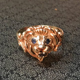 14KT Yellow Gold Lion Ring Sapphire Eyes & Mouth Vintage