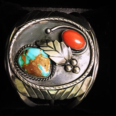 Coral and Turquoise Vintage Cuff Bracelet