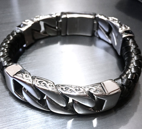 Leather and Stainless Steel Curb Chain Bracelet