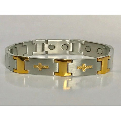 Stainless Steel Cross Horizontal in Goldtone Magnetic Bracelet