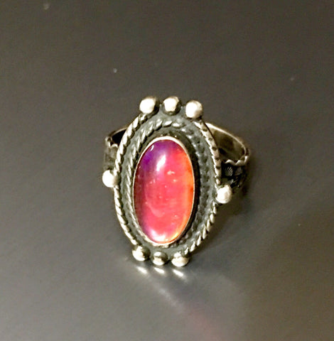 Dragon Glass and Sterling Vintage Ring sz6