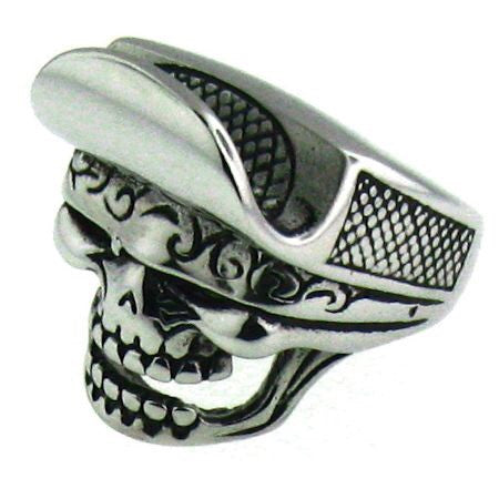 Brim Hat Skull Ring in Stainless Steel 316L