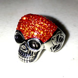Sparkly Skull in Bright Orange Ring in Stainless Steel