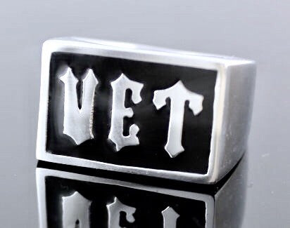 Veteran Ring Rectangle In Stainless Steel and Black