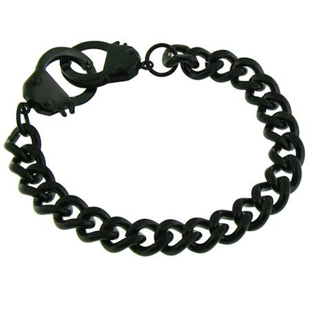 Handcuff Bracelet in Black Stainless Steel
