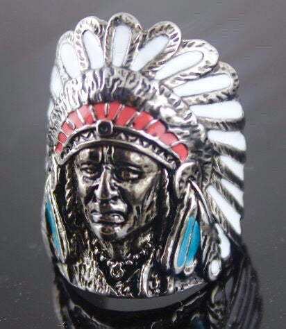 Indian Ring in White, Blue and Red Headress