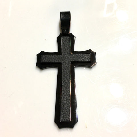 Super Large Cross whith A Black Insert Insert in Black Stainless Steel