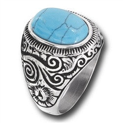 Turquoise Oval Stone Ring in Stainless Steel
