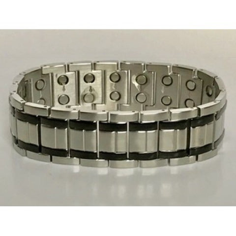 Stainless Steel Black Striped Magnetic Bracelet