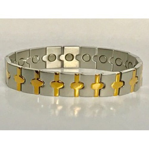 Stainless Steel Gold-tone Cross Magnetic Bracelet