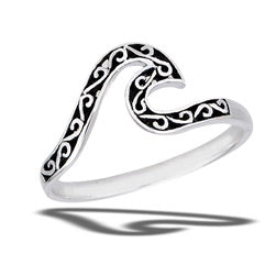 Wave Ring Filigree Celtic Knot In Sterling Silver