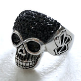 Sparkly Black Skull Ring in Stainless Steel