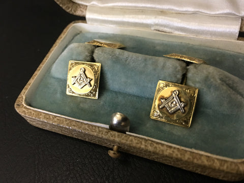10kt Gold Mason Cuff Links Vintage