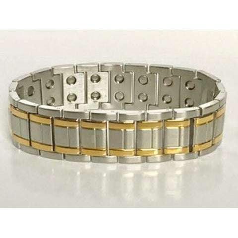 Stainless Steel Gold-tone Striped Magnetic Bracelet