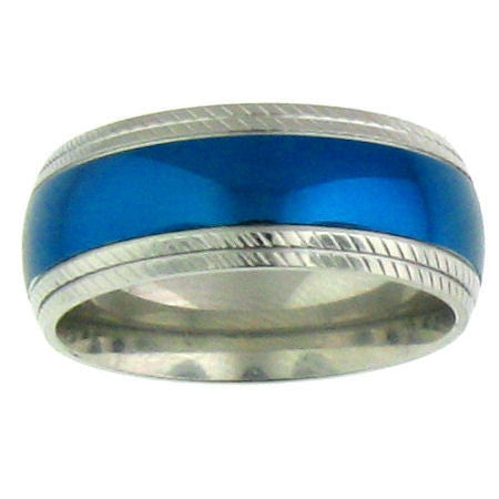Wide Bright Blue Stainless Steel Band with comfort fit;