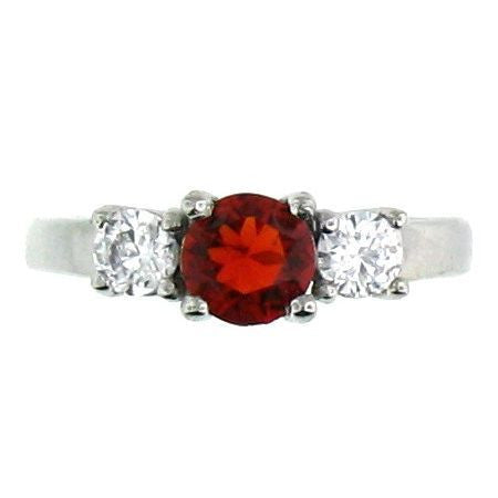 Great Deep Red and CZ Stone Stainless Steel Ring