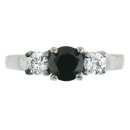 Black Princess Cut and Clear CZ Stones Stainless Steel Ring