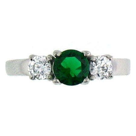 Celtic Emerald Green and Clear CZ Stones Stainless Steel Ring