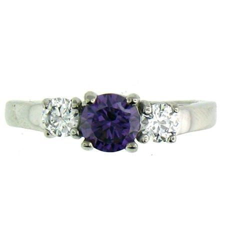 Deep Amethyst Purple and Clear CZ Stones Stainless Steel Ring