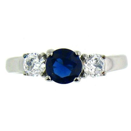 Deep Dark Blue and CZ Stone Stainless Steel Ring
