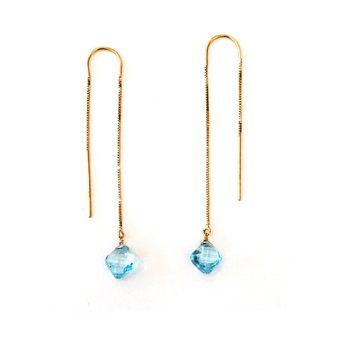 Blue Topaz 14K Gold Threader