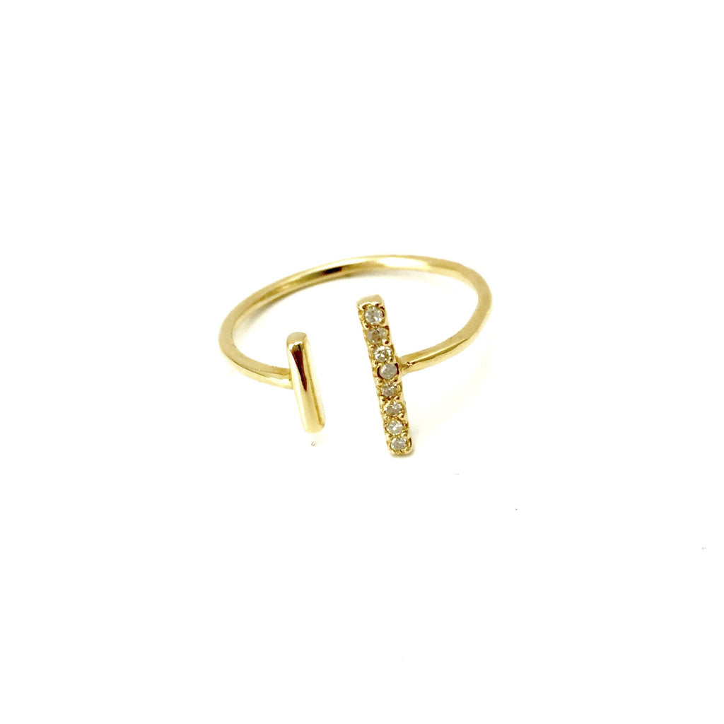 14K Bar Ring with Diamond