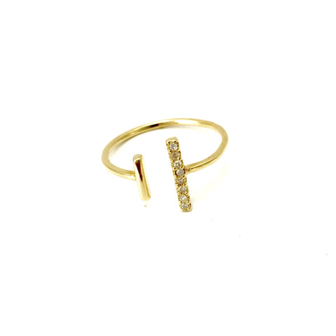 14k Gold Bar Ring with Diamonds