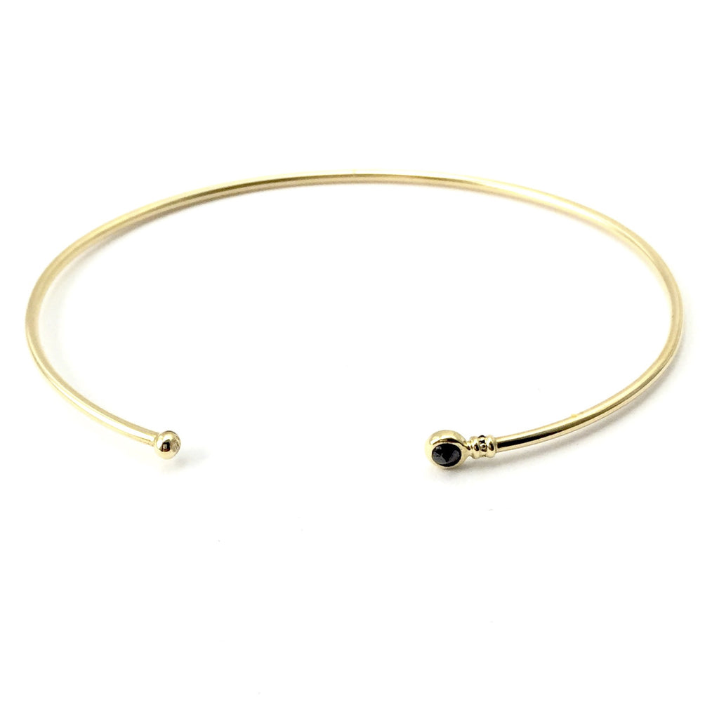 14K Gold Cuff  Black Diamond