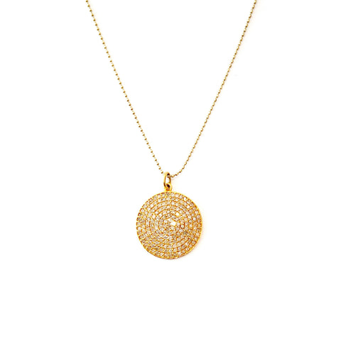14K Gold Pave Diamond Disk Necklace