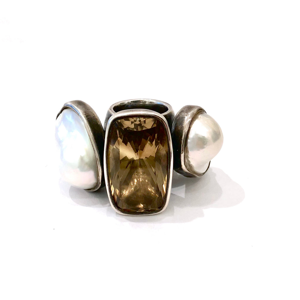 South Sea Pearl and Topaz Ring