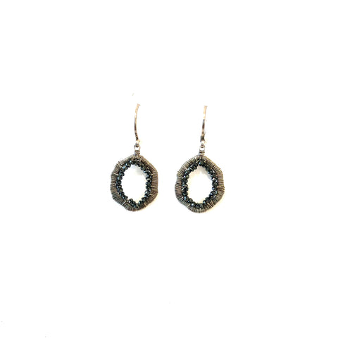Black Diamonds Silver Earrings