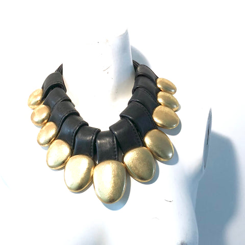 Monies Leather And Gold Polyresin Necklace