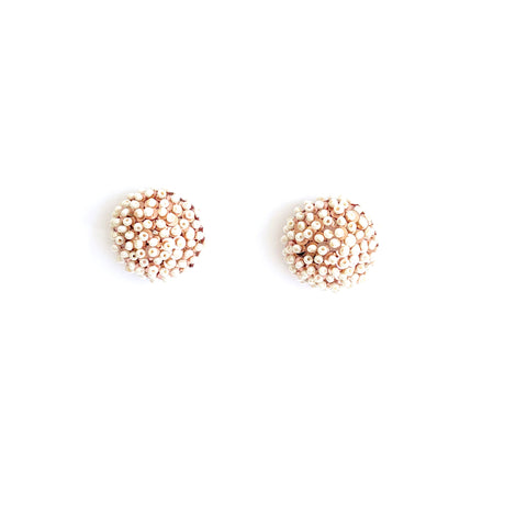 Seed Pearl Button Earrings