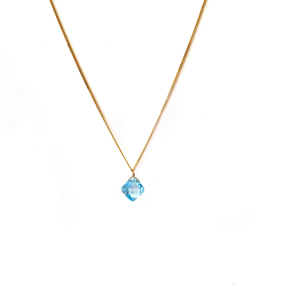 Blue Topaz Gold Necklace