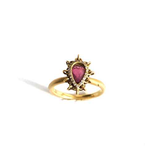 18K Gold Pink Tourmaline Ring