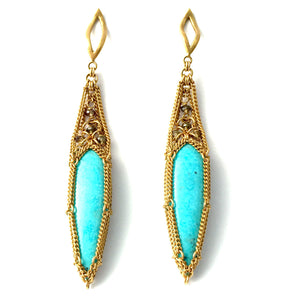 18K Gold Turquois & Champagne Diamonds Earrings