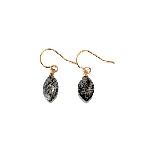 Black Rudilated Quartz Earrings