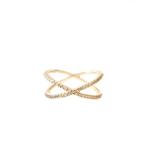 "14k Gold ""X"" Ring with White Diamonds"