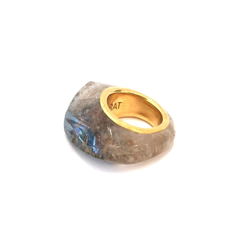 24K Gold Rudilated Quartz Ring