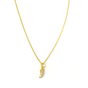 14K Gold and Diamond Encrusted Horn Necklace