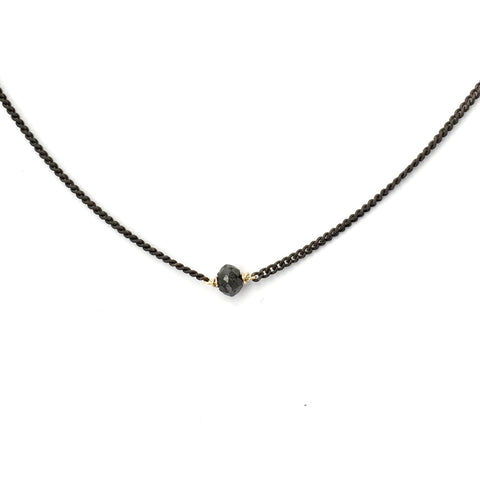 Black Diamond on Oxidized Sterling Silver Chain