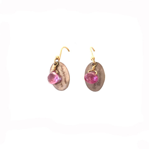 Pink Tourmaline Silver and 18K Earrings