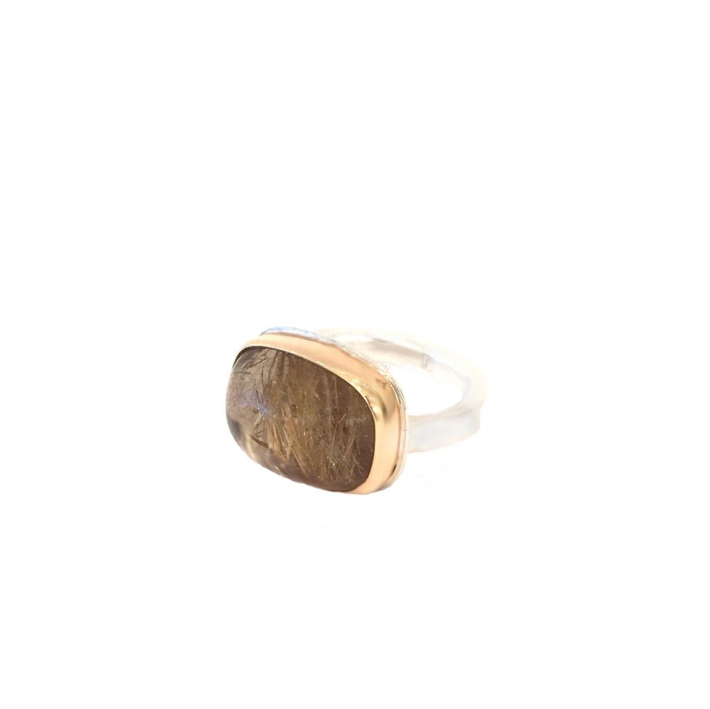14k Bezel Rudilated Quartz Ring