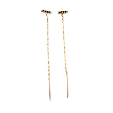 14K Gold Black Diamonds Earrings
