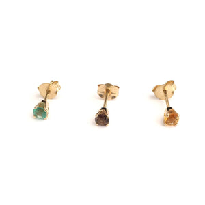14K Gold Semi Precious Stones Earrings